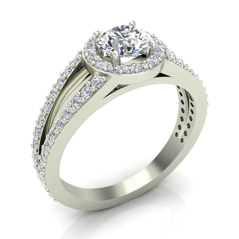 Round Brilliant Split Shank Halo Engagement Ring 14K Gold (I,I1) - White Gold