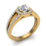 Round Brilliant Split Shank Halo Engagement Ring 14K Gold (I,I1) - Yellow Gold