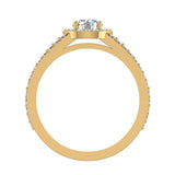 1.75 Carat Round Brilliant Split Shank Halo Engagement Ring 14K Gold (G,SI) - Yellow Gold