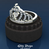 Fashion Princess Tiara Crown Diamond Ring 0.50 carat total weight Band Style 18K Gold (G,VS)