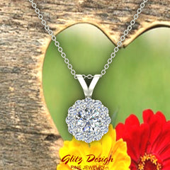 Halo Diamond necklaces for women 14K Gold Charms Round Cut Earth-mined Diamond Pendant (G, VS)