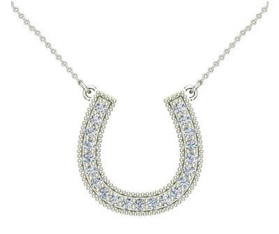 1/3 cttw Diamond Horseshoe Necklace 14K Gold on Sterling