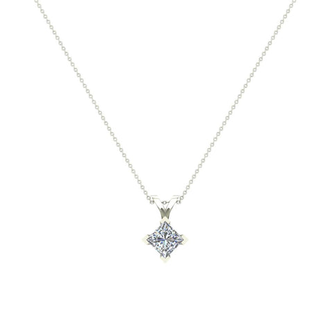 Princess cut kite solitaire diamond necklace 14k gold g hsi1 si2 princess cut kite solitaire diamond necklace 14k gold gsi white gold aloadofball Image collections