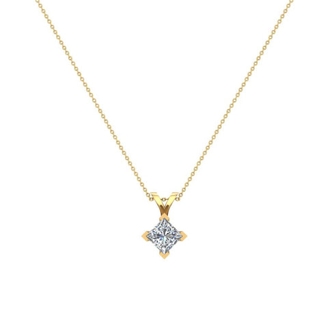 Princess Cut Kite Solitaire Diamond Necklace 14K Gold (G,VS1) - Yellow Gold