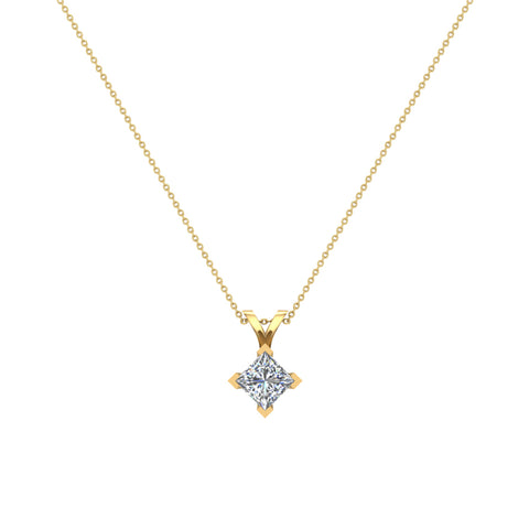 Princess Cut Kite Solitaire Diamond Necklace 14K Gold (G,I1) - Yellow Gold