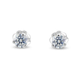 Three Prong Martini Style Diamond Earring in 14k Gold (G,I1) - White Gold