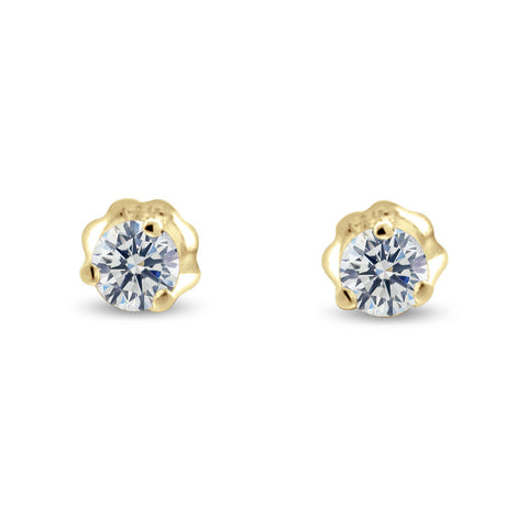 Three Prong Martini Style Diamond Earrings in 14k Gold (G,SI) - Yellow Gold
