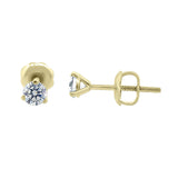 Three Prong Martini Style Diamond Earring in 14k Gold (G,I1) - Yellow Gold