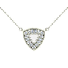 18K Gold Diamond Triangle Necklace 0.29 ct tw in White Gold