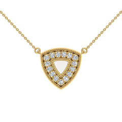 18K Gold Diamond Triangle Necklace 0.29 ct tw in Yellow Gold