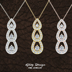 Tear Drop Cascade Waterfall Diamond Necklace Past Present Future 18K Gold Pendant 1 Carat Total Weight (G,VS)