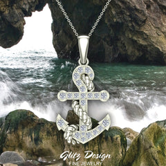 Anchor Diamond Pendant in 14K Gold (G,VS)