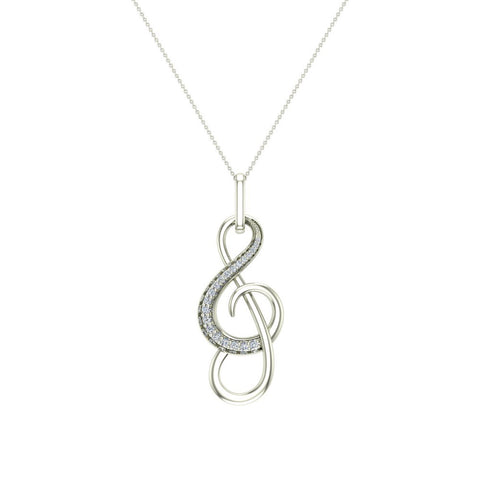14K Gold Necklace Symphony Notation Style accented with Diamonds 0.23 ctw (I,I1) - White Gold