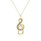Treble Clef Minimalist Music Notation Charm 14K Gold Diamond Necklace 0.23 Carat Total Weight (G,SI) - Yellow Gold