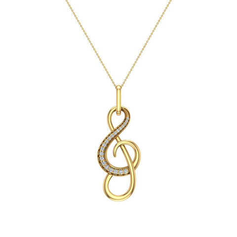 Treble Clef Minimalist Music Notation Charm 14K Gold Diamond Necklace 0.23 Carat Total Weight (I,I1) - Yellow Gold