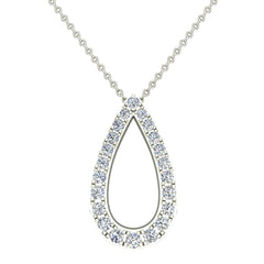 18K Gold Necklace Teardrop-Shape Necklace 0.34 ct tw Diamonds in White Gold