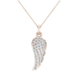 0.47 ct tw Angel Wing Diamond Pendant Necklace 18K Gold (G,VS) - Rose Gold