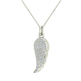 0.47 ct tw Angel Wing Diamond Pendant Necklace 18K Gold (G,VS) - White Gold