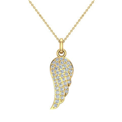 0.47 ct tw Angel Wing Diamond Pendant Necklace 18K Gold in Yellow Gold