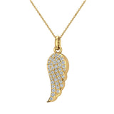 0.47 ct tw Angel Wing Diamond Pendant Necklace 18K Gold (G,VS) - Yellow Gold