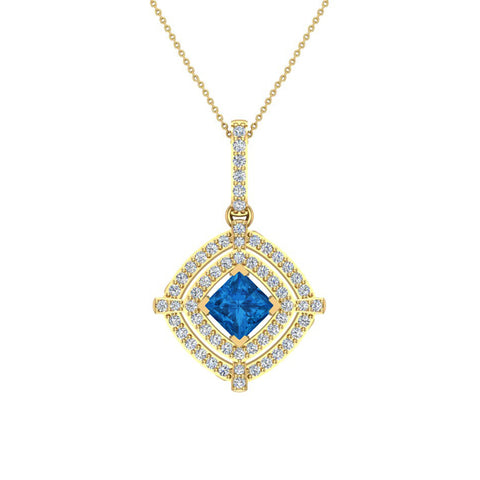 December Birthstone Blue Topaz 14K White Gold Necklace Double Halo Cushion with Chain 1.70 ct - Yellow Gold