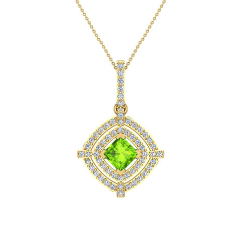 August Birthstone Peridot 14K White Gold Necklace Double Halo Cushion with Chain 1.70 ct - Yellow Gold