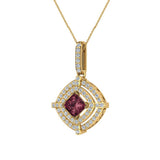January Birthstone Garnet 14K White Gold Necklace Double Halo Cushion with Chain 1.70 ct - Yellow Gold