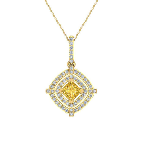 November Birthstone Citrine 14K White Gold Necklace Double Halo Cushion with Chain 1.70 ct - Yellow Gold
