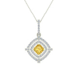 November Birthstone Citrine 14K White Gold Necklace Double Halo Cushion with Chain 1.70 ct - White Gold