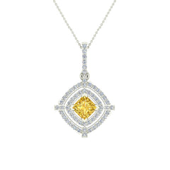 14K White Gold Necklace Blue Topaz & Diamond Double Halo Cushion  with Chain 1.70 ct in White Gold