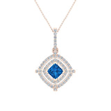 December Birthstone Blue Topaz 14K White Gold Necklace Double Halo Cushion with Chain 1.70 ct - Rose Gold