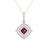 January Birthstone Garnet 14K White Gold Necklace Double Halo Cushion with Chain 1.70 ct - Rose Gold