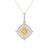 November Birthstone Citrine 14K White Gold Necklace Double Halo Cushion with Chain 1.70 ct - Rose Gold
