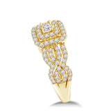 Intertwined Wavy Diamond Wedding Ring Set 18K White or Yellow Gold (G,VS) - Yellow Gold