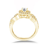 Intertwined Engagement Rings Infinity Style Shank 14K White Gold or Yellow Gold (I,I1) - Yellow Gold