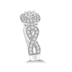 Intertwined Infinity Diamond Wedding Ring Set In White Gold