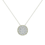 14K Gold Necklace Button Dainty Button Style Pendant 0.50 ctw (I,I1) - White Gold
