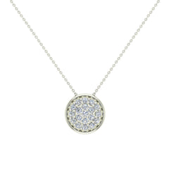 0.62 ct tw Diamond Button Necklace 18K Gold in White Gold