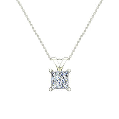 Princess Cut Diamond Solitaire Pendant Necklace in White Gold