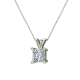 Princess Cut Diamond Pendant Necklace for women 14K Gold Chain (I, I1) - White Gold