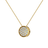 14K Gold Necklace Button Dainty Button Style Pendant 0.50 ctw (I,I1) - Yellow Gold