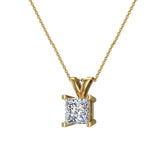 Princess Cut Diamond Pendant Necklace for women 14K Gold Chain (I, I1) - Yellow Gold