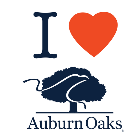 I Heart Auburn Oaks Square Decal