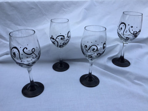 Black Swirl Hand Painted Glasses