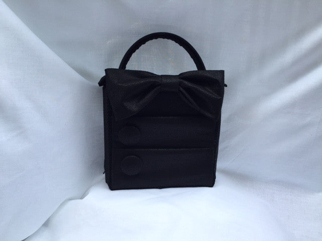 Black Purse with Bow, Buttons, and Pockets