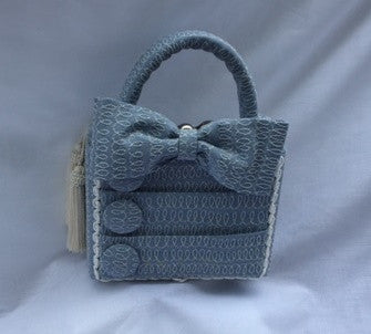 Blue Purse with Button and Bows