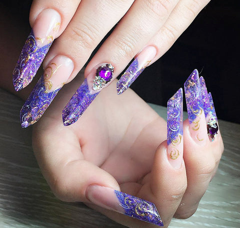 very long nails painted purple edge shaped