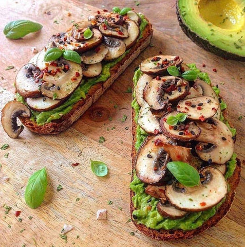 Avocado toast with mushrooms, red pepper and basil, healthy living, clean eating, WFBP, plant based