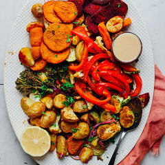 Roasted vegetable recipe for thanksgiving, low calorie, healthy alternative