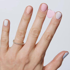 Valentine's Day nail color, pastels of peach, green, blue, pink, lilac, cream
